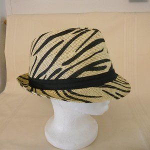 Accessories - Straw Mesh Fedora with Zebra Stripe Black Hat Band